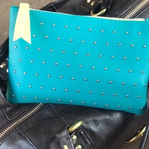 IPSY 100 th glam bag/ teal/ silver dots/yellow🦋